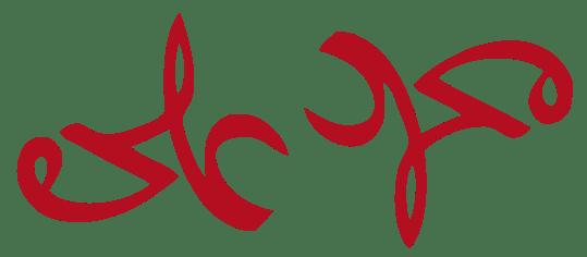 Un ambigramma (leggibile quindi, in identico modo, anche ruotando di 180° l'immagine) con i nomi di Muḥammad (ﻣﺤﻤﺪ) e di ʿAlī (ﻋﻠﻲ).