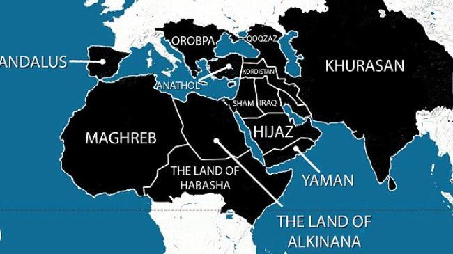 Il disegno per le conquiste del Califfato islamico secondo le intenzioni dell'Isis