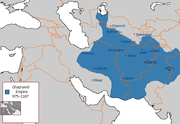 La massima estensione dell'impero Ghaznavide