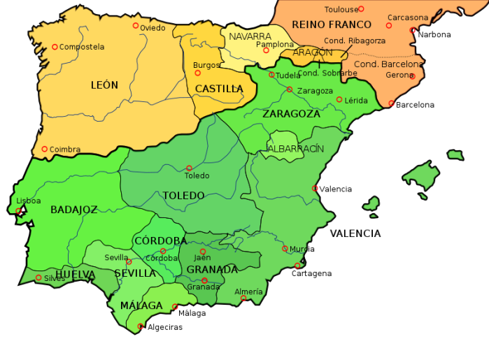 Map al-Andalus 1035. Wikimedia Maps of Spain